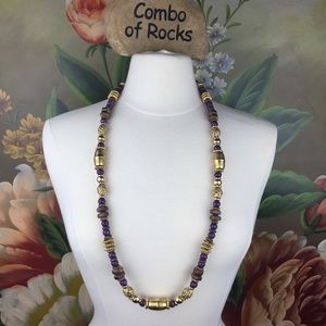 1928 Gold Purple Bronze Variety Beaded Necklace